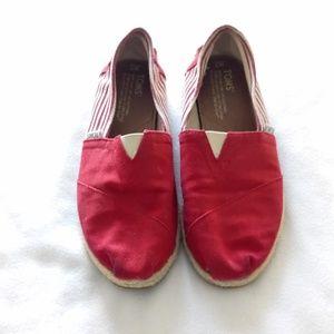 Toms Red & White Women's Espadrilles